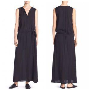 Vince Sleeveless Black Silk Maxi Dress